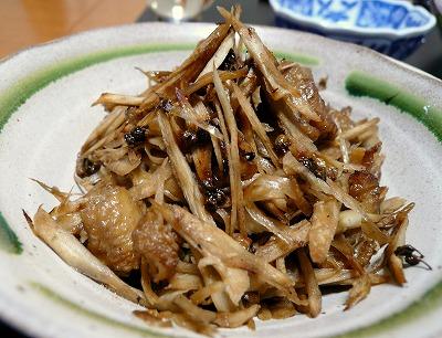 080901鶏皮とごぼうの山椒炒め