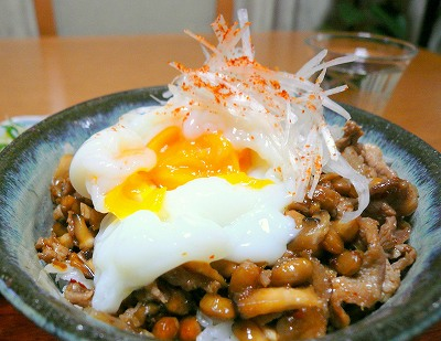 081107納豆と豚肉の元気丼