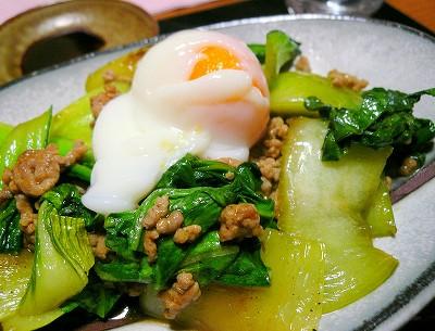 0081112ひき肉とチンゲン菜の中華炒め