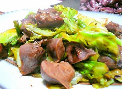 090206砂肝とキャベツ炒め