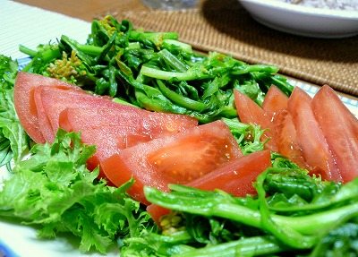 090415トマトと菜の花のサラダ