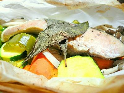 090730鮭と野菜の紙包み焼き