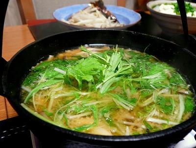 090928水菜とベーコンのお味噌汁