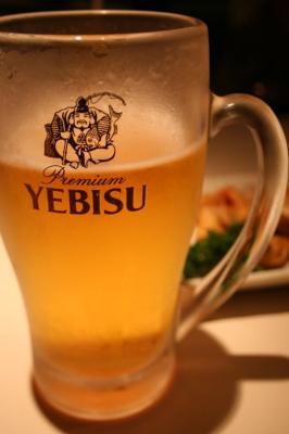 生ビール。夫婦そろって好物です。