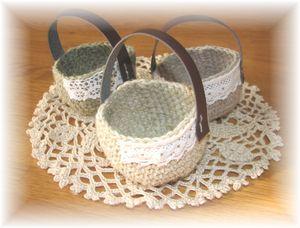 麻 編みかご