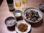 茄子と豚肉の味噌炒め・きんぴらとドイツワイン