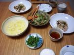 ポークソテー、豆サラダ、素麺