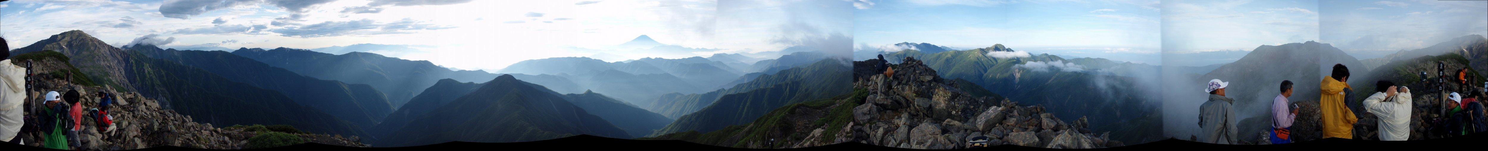 農鳥岳からのパノラマ(クリックで拡大)