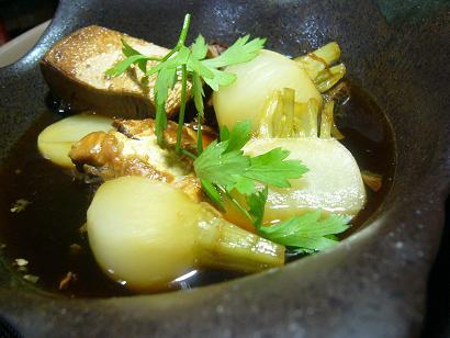 秋カブとブリのあら煮 (2)
