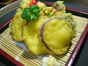 さつま芋とキノコの天ぷら3 (1)小