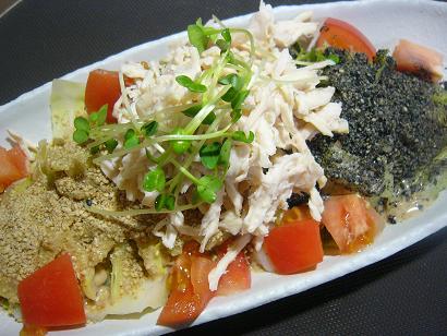 春キャベツと蒸し鶏胡麻サラダ2