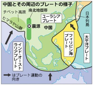 中国地震带的分布図無修正画像
