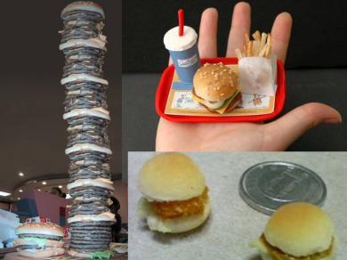 絶妙ハンバーガー?特大ハンバーガー!ミニハンバーガー!極小ハンバーガー!完全無修正写真画像