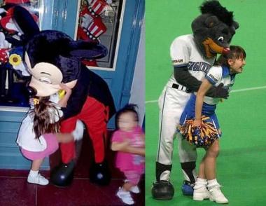 ミッキーマウスの悲劇と日本ハムファイターズマスコットキャラクターのセクハラ写真:完全無修正写真画像