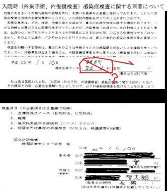 静岡医療センター循環器科のイイ加減な入院時の同意書:完全無修正画像