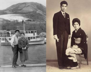 父の葬儀で飾った若き頃の両親写真:完全無修正写真