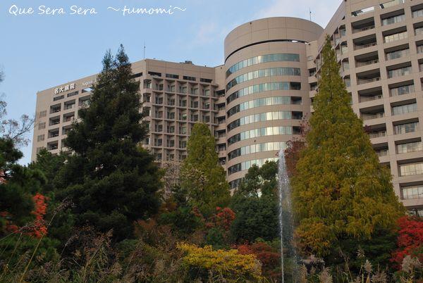 病院と紅葉