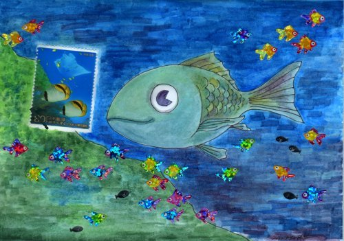 絵封筒魚シール