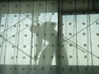 窓の外の足場