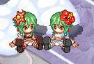 緑ウサ子ツーショット2