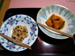 ある日の「大正館」のお膳5、「預け鉢・れんこん金平、なんきん旨煮」