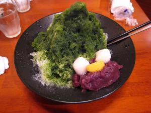 京都河原町四条、京佃煮・京菓子永楽屋・喫茶、「宇治金時氷」、¥850