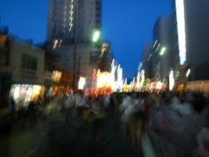 京都・祇園祭2009、宵々山・歩行者天国、山鉾町「賑わい・喧騒・喜び」