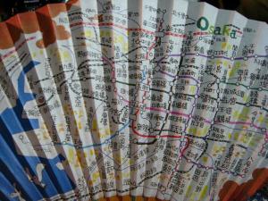 「関西メトロ・マップ扇子」、十数年来愛用の扇子、七月・八月以外に愛用、3