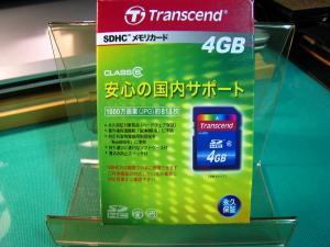 トランセンド「SDHCメモリカード・4GB、クラス6」、1000万画素818枚の容量、1