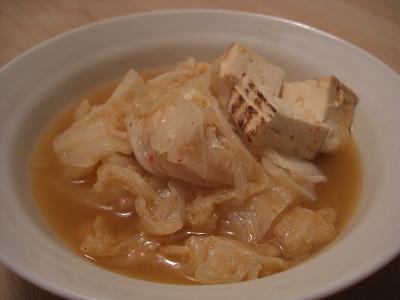 白菜と焼き豆腐のキムチ煮