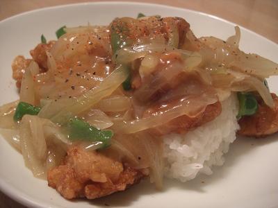 鶏から揚げの野菜あんかけ丼