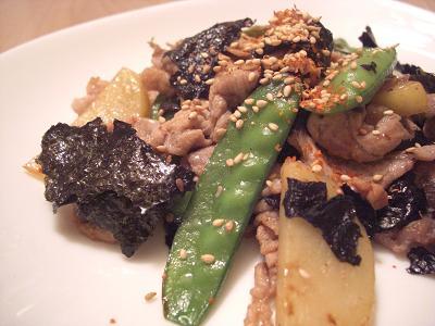 豚肉とじゃがいもの海苔炒め