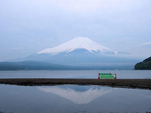 寒い!逆さ富士