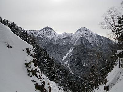 F8上から赤岳と阿弥陀岳