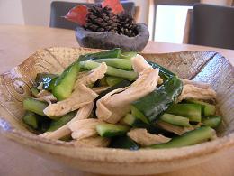きゅうりと胸肉のサラダ