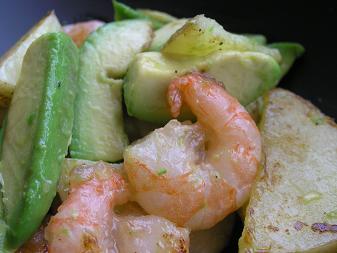海老とアボカドの炒め物