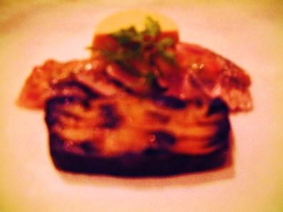秋刀魚の炙り焼きマリネに秋茄子のテリーヌ