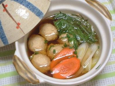 鶏団子と水菜の昆布ぽん酢鍋☆