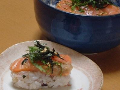 青じそポン酢de漬け鮭寿司♪ダブル