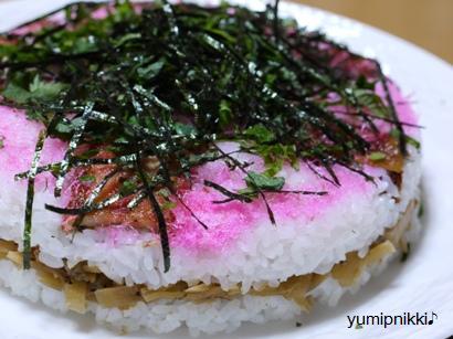 アナゴとかんぴょうのケーキ寿司♪