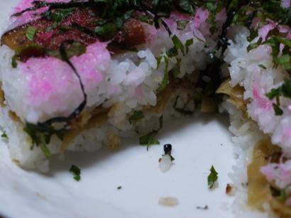 アナゴとかんぴょうのケーキ寿司カット