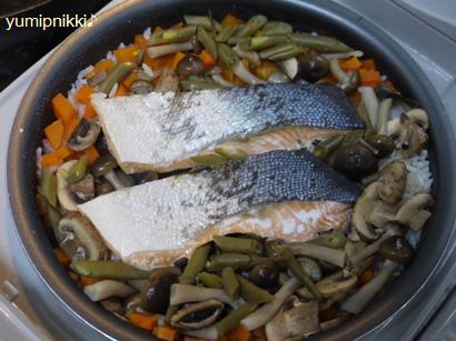 鮭とキノコ2種のコンソメピラフ♪炊きあがり