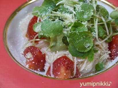 ドルチェトマトのつまみ菜涼風麺♪