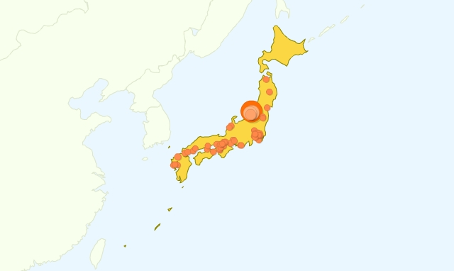 地図上のデータ