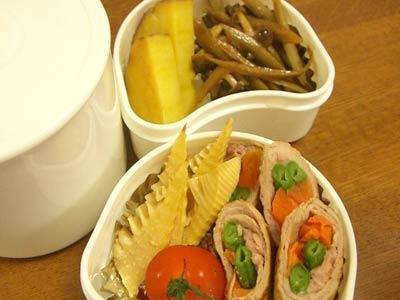 4・23たけのこ素焼き、野菜肉巻き、ごぼうとしめじのきんぴら