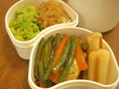 4/26豆腐バーグのあんかけ、すき焼き風煮物