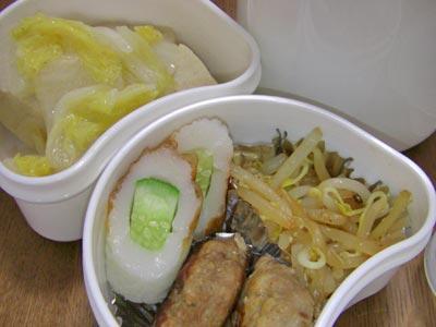 ミニハンバーグ、白菜と高野豆腐の煮物