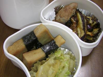 白菜のおひたし、高野豆腐のしょうが焼付け