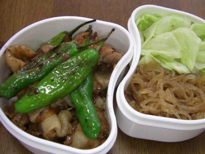 豚肉のしょうが焼き、糸コンの甘辛煮、キャベツの梅風味