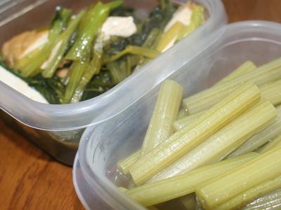 ふきのたいたん。 厚揚げと小松菜のたいたん。
